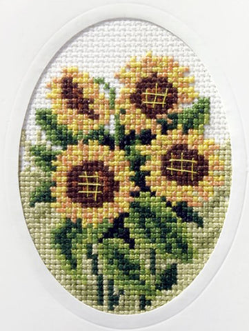Orchidea Stamped Cross Stitch Card Kit - Sunflowers