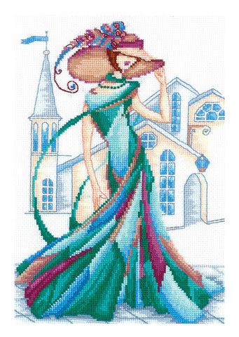 Andriana Cross Stitch kit - Emerald Lace