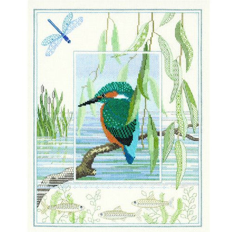 Derwentwater Designs Wildlife Cross Stitch Kit - Kingfisher