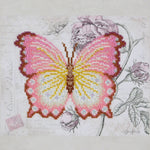 VDV Bead Embroidery Kit - Pink and Yellow Butterfly