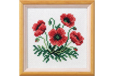 Orchidea Printed Cross Stitch Kit - Poppies