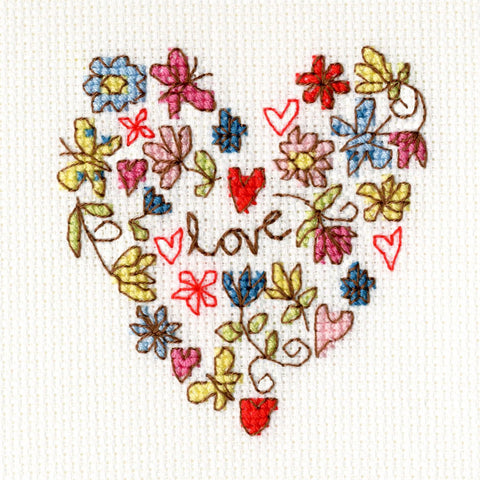Bothy Threads Cross Stitch Card Kit - Sweet Heart Card