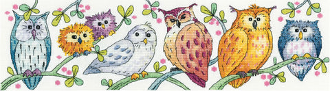 Heritage Crafts Cross Stitch Kit - Owls on Parade (Aida)