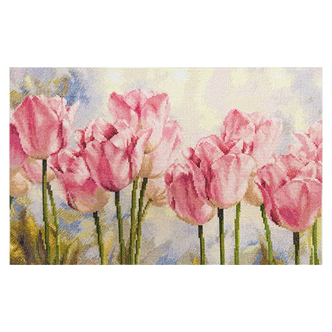 Alisa Cross Stitch Kit - Pink Tulips