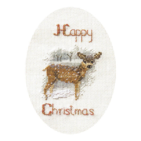 Derwentwater Designs Christmas Cross Stitch Card Kit - Deer in a Snow Storm