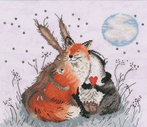 Bothy Threads Cross Stitch Kit - Peace And Huggles