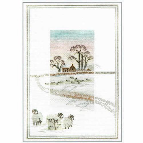 Derwentwater Designs Misty Mornings Cross Stitch Kit - Snowy Sheep