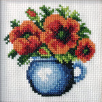 Orchidea Stamped Cross Stitch Kit - Poppies in Blue Jug