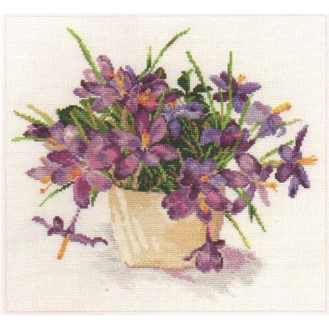 Alisa Cross Stitch Kit - Crocuses