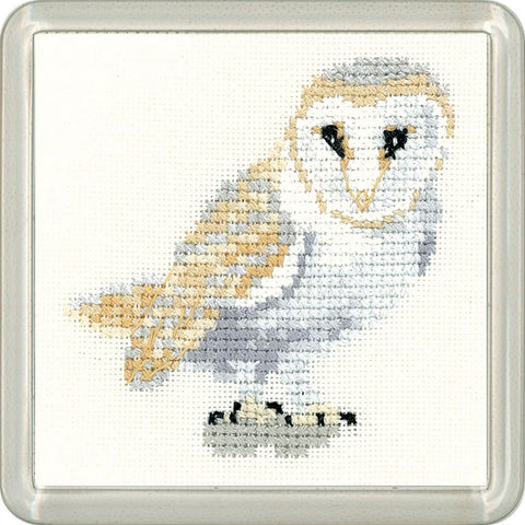 Heritage Crafts Little Friends Coaster Cross Stitch Kit - Barn Owl