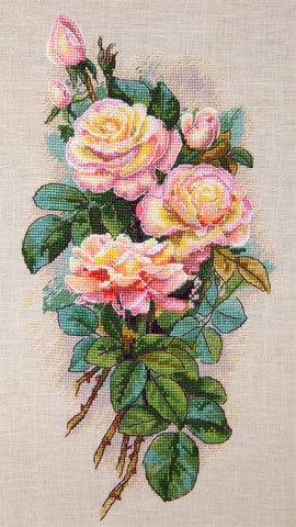 Merejka Cross Stitch Kit - Vintage Roses (Belfast 32 Count)