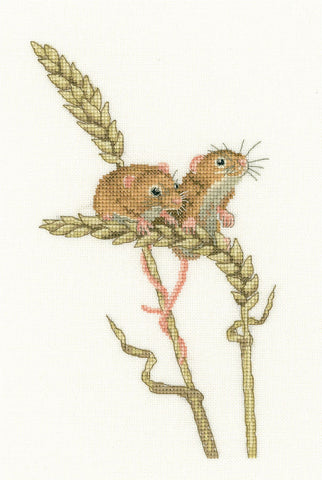 Heritage Crafts Little Darlings Cross Stitch Kit - Harvest Mice (Evenweave)