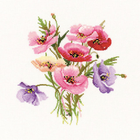 Heritage Crafts Posies Cross Stitch Kit - Poppy Posy (Evenweave)