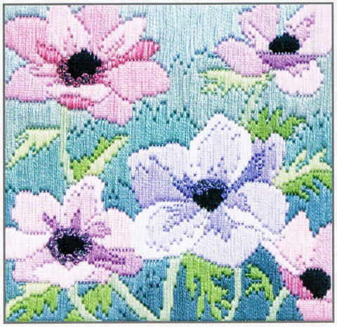 Derwentwater Designs Silken Long Stitch Kit - Purple Anemonies