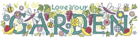Heritage Crafts Karen Carter Collection Cross Stitch Kit - Love Your Garden