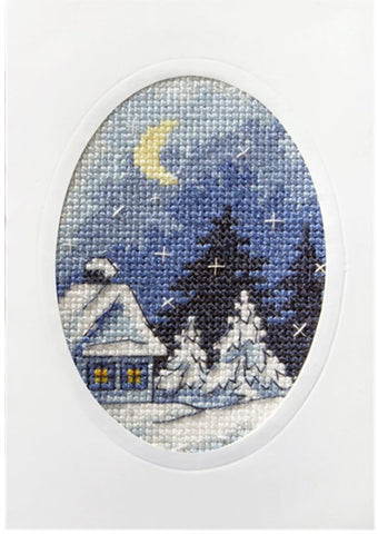 Orchidea Stamped Cross Stitch Card Kit - Moonlit Scene