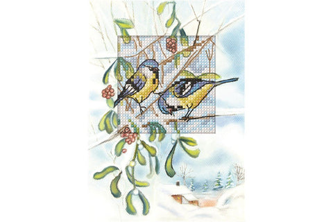 Orchidea Cross Stitch Card Kit - Blue Tits on Mistletoe