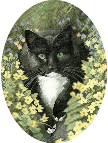 Heritage Crafts Cross Stitch Kit - Black and White Cat (Aida)