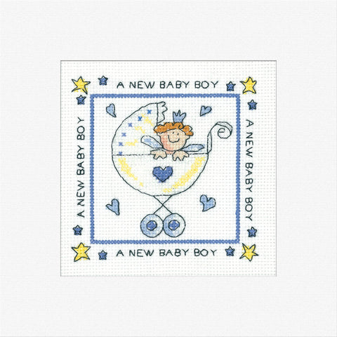 Heritage Crafts Cross Stitch Greeting Card Kit - New Baby Boy