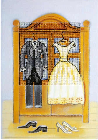 Orchidea Cross Stitch Card Kit - Wedding Outfits