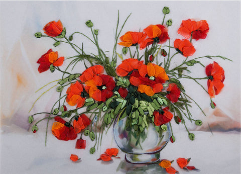 Panna Ribbon Embroidery Kit - Study of Poppies