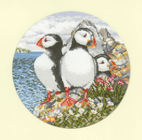 Heritage Crafts Animal Magic Cross Stitch Kit - Puffin Patrol (Aida)