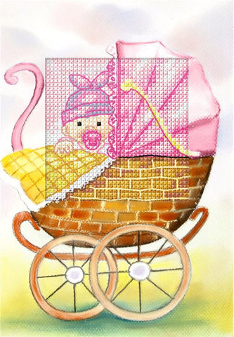 Orchidea Cross Stitch Card Kit - Baby Girl