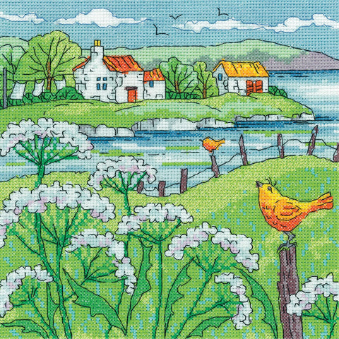 Heritage Crafts Cross Stitch Kit - Cow Parsley Shore (Aida)