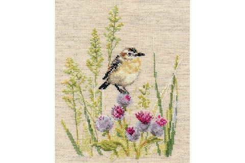 Alisa Cross Stitch Kit - Little Bird and Thistles