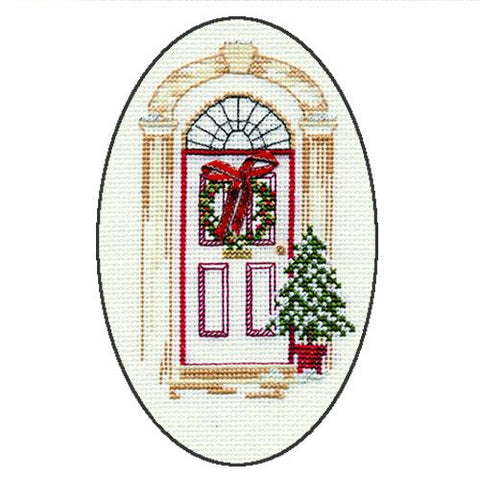 Derwentwater Designs Christmas Cross Stitch Card Kit - Christmas Door