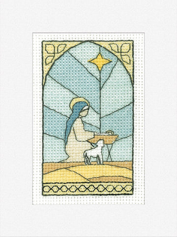 Heritage Crafts Cross Stitch Christmas Card Kit - In The Stable