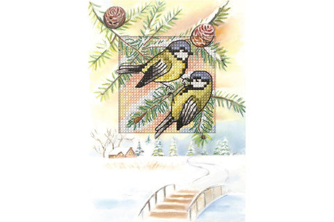 Orchidea Cross Stitch Card Kit - Blue Tits on Flowers