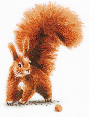 Panna Satin Stitch Embroidery Kit - Squirrel with a Nut