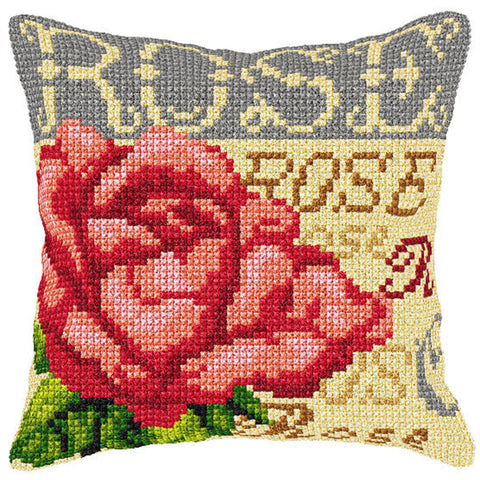 Orchidea Tapestry Cross Stitch Cushion Cover - Rose