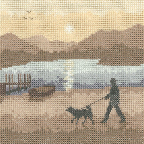 Heritage Crafts Silhouette Cross Stitch Kit - Sunset Stroll (Evenweave)