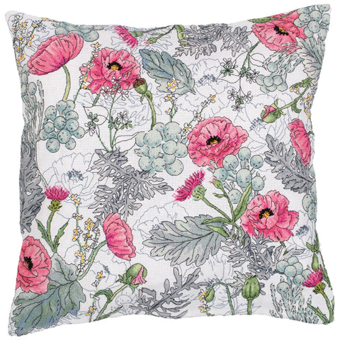 Panna Cross Stitch Cushion Front Kit - Poppies
