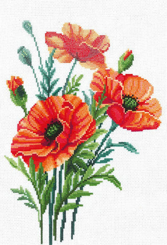 Andriana Cross Stitch Kit - Poppy Flowers