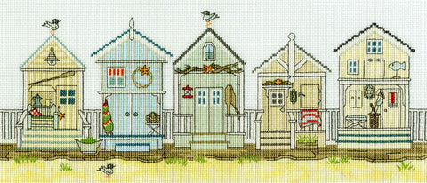 Bothy Threads Cross Stitch Kit - New England: Beach Huts