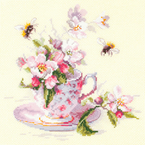 Magic Needle Cross Stitch Kit : Cup and Apple Blossom
