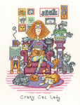 Heritage Crafts Cross Stitch Kit - Crazy Cat Lady (Evenweave)