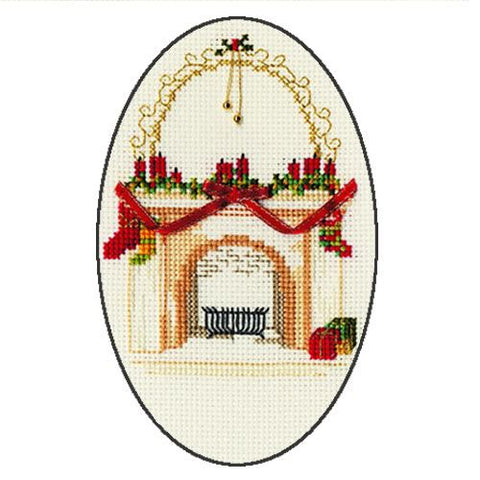 Derwentwater Designs Christmas Cross Stitch Card Kit - Christmas Fireplace