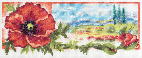 Panna Cross Stitch Kit : Poppy Landscape