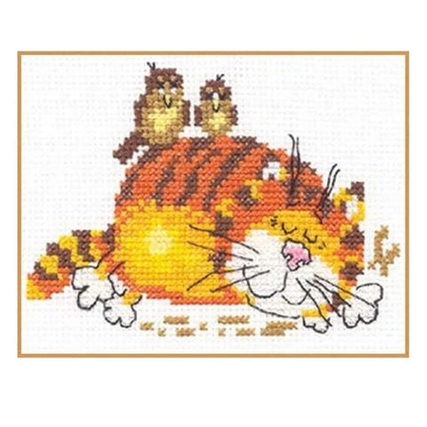 Alisa Cross Stitch Kit - Lazy Cat