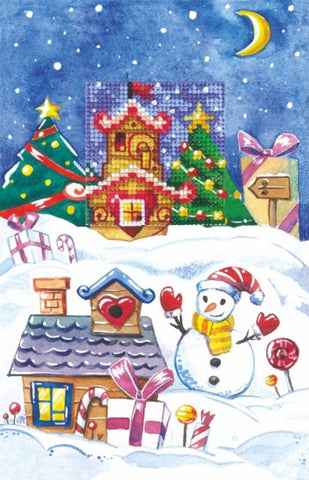 Andriana Cross Stitch Card Kit - Christmas Gingerbread House