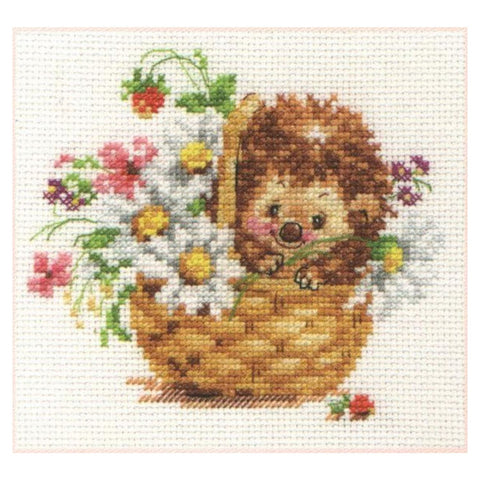 Alisa Cross Stitch Kit - Hedgehog in Daisies