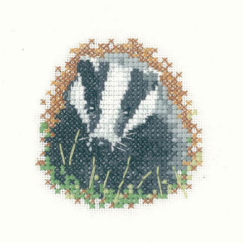 Heritage Crafts Little Friends Cross Stitch Kit - Badger (Aida)