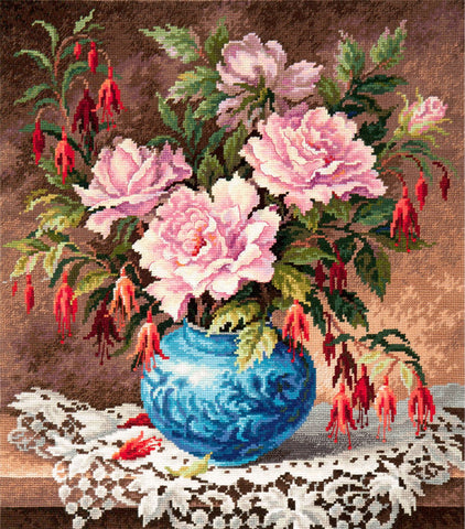 Magic Needle Cross Stitch - Roses and Fuchsia