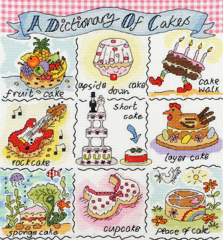 Bothy Threads Cross Stitch Kit - Dictionary Of Cakes