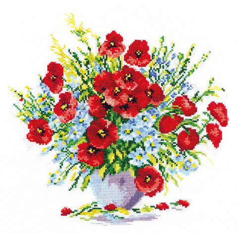 Magic Needle Cross Stitch Kit - Bouquet of Poppies