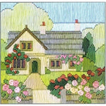 Derwentwater Designs Silken Long Stitch Kit - Rambling Rose Cottage
